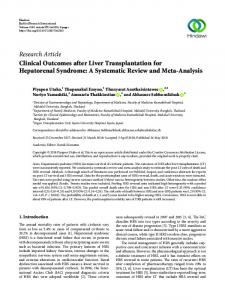 Clinical Outcomes after Liver Transplantation for Hepatorenal ...