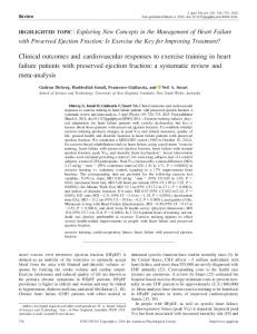 Clinical outcomes and cardiovascular responses to exercise training ...