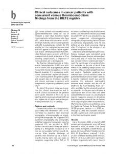 Clinical outcomes in cancer patients with concurrent venous ...