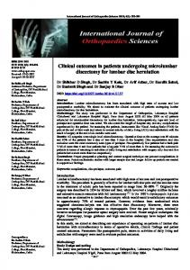Clinical outcomes in patients undergoing microlumbar ...