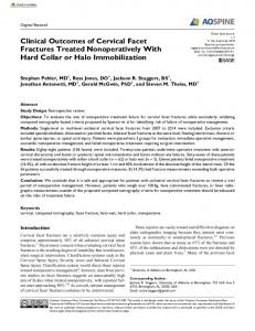 Clinical Outcomes of Cervical Facet Fractures Treated