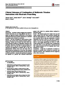 Clinical Outcomes of Continuation of Metformin ... - Springer Link