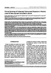 Clinical Outcomes of Endoscopic Submucosal ... - KoreaMed Synapse