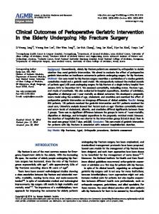 Clinical Outcomes of Perioperative Geriatric ... - KoreaMed Synapse