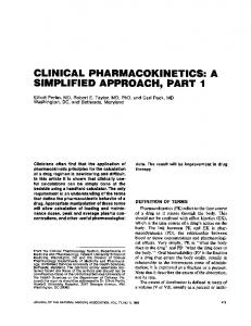 clinical pharmacokinetics: a simplified approach, parti - NCBI