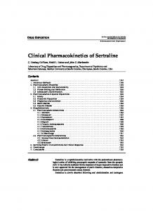 Clinical Pharmacokinetics of Sertraline