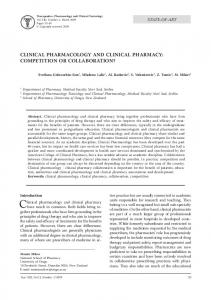 CLINICAL PHARMACOLOGY AND CLINICAL PHARMACY ...