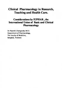 Clinical Pharmacology in Research, Teaching and Health Care.