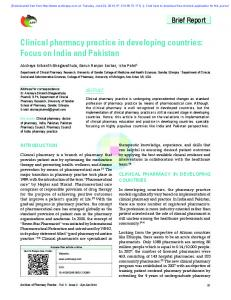 Clinical pharmacy practice in developing countries