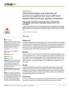 Clinical phenotypes and outcomes of pulmonary hypertension ... - PLOS