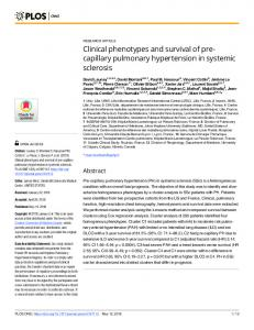 Clinical phenotypes and survival of pre-capillary pulmonary ... - PLOS