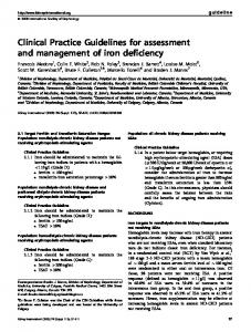 Clinical Practice Guidelines for assessment and management of iron ...