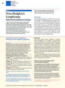 Clinical Practice Guidelines for Non-Hodgkin's Lymphomas