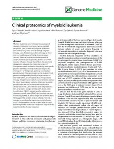 Clinical proteomics of myeloid leukemia - ScienceOpen