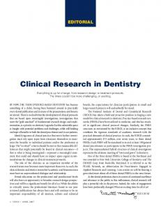 Clinical Research in Dentistry