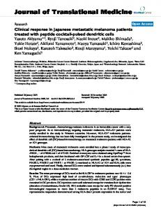 Clinical response in Japanese metastatic melanoma patients treated ...