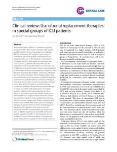 Clinical review: Use of renal replacement therapies in ... - CiteSeerX