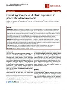 Clinical significance of clusterin expression in pancreatic ...