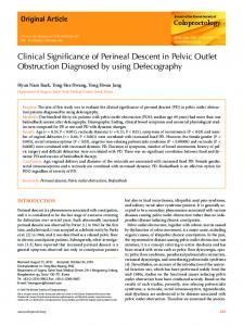 Clinical Significance of Perineal Descent in Pelvic