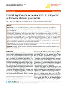 Clinical significance of serum lipids in idiopathic pulmonary alveolar ...