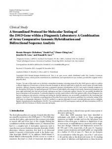 Clinical Study A Streamlined Protocol for Molecular Testing of the ...