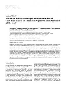 Clinical Study Association between Neurocognitive Impairment and ...
