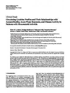 Clinical Study Circulating Cytokine Profiles and Their Relationships ...