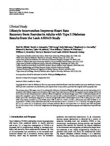 Clinical Study Lifestyle Intervention Improves Heart ... - ScienceOpen