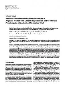 Clinical Study Maternal and Perinatal Outcomes of