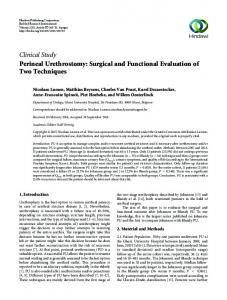 Clinical Study Perineal Urethrostomy: Surgical and ...