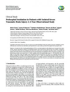 Clinical Study Prehospital Intubation in Patients with