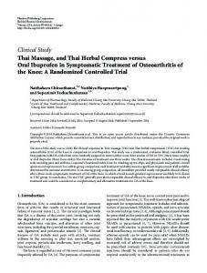 Clinical Study Thai Massage, and Thai Herbal ... - BioMedSearch