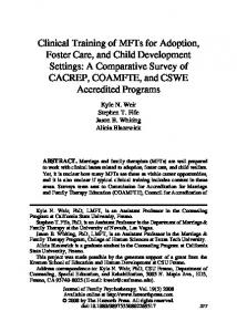 Clinical training of MFTs for adoption, foster - Faculty Websites