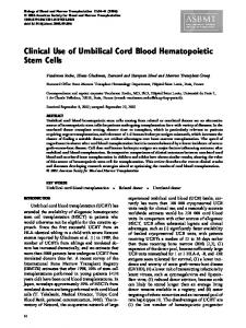 Clinical Use of Umbilical Cord Blood Hematopoietic Stem Cells
