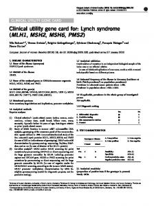 Clinical utility gene card for: Lynch syndrome (MLH1, MSH2 ... - Nature