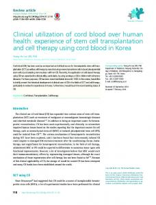 Clinical utilization of cord blood over human health ... - Semantic Scholar