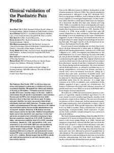 Clinical validation of the Paediatric Pain Profile - Wiley Online Library