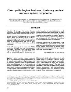 Clinicopathological features of primary central nervous system ...