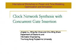 Clock Network Synthesis - UCSD CSE