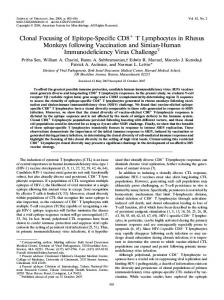 Clonal Focusing of Epitope-Specific CD8 T ... - Journal of Virology