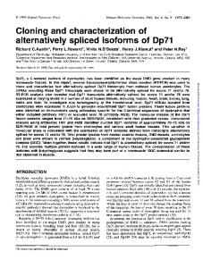 Cloning and characterization of alternatively spliced