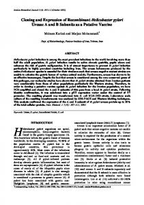 Cloning and Expression of Recombinant Helicobacter pylori Urease A ...