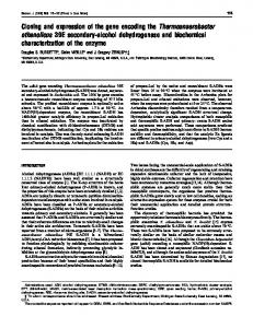 Cloning and expression of the gene encoding the ... - Semantic Scholar