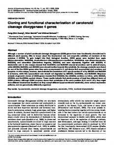 Cloning and functional characterization of carotenoid cleavage ...