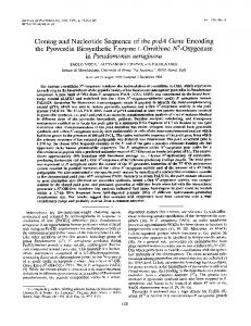 Cloning and Nucleotide Sequence of the pvdA Gene Encoding the ...