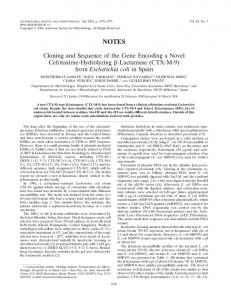 Cloning and Sequence of the Gene Encoding a Novel Cefotaxime ...