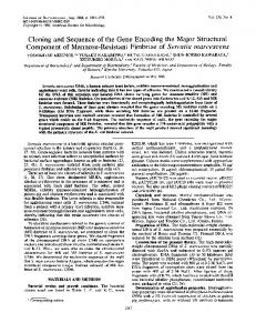 Cloning and Sequence of the Gene Encoding the Major Structural ...