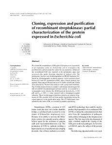 Cloning, expression and purification of recombinant streptokinase ...