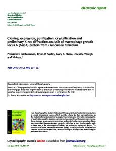 Cloning, expression, purification, crystallization and preliminary X-ray ...