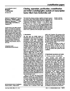 Cloning, expression, purification, crystallization and initial ...